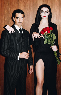 Joe Jonas and Sophie Turner as Gomez and Morticia Addams